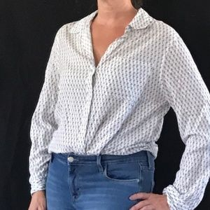 Casual Button Up White Blouse with Navy Swirls
